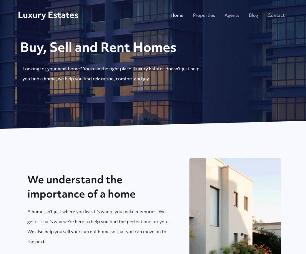 Luxury Estates homepage